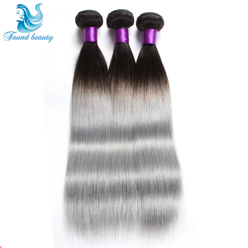 2015 New Arrival Grey Human Hair Extensions 3 Pcs lot 1B Grey Ombre Virgin Brazilian Straight Hair 7a Silver Grey Hair Weaves