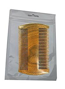 2 Sides Dual-Use Eard Comb Pocket Mustache and Hair Comb,No Static Natural Aroma Handmade Green Sandalwood Comb Wide and Fine Tooth