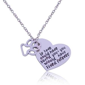 Hollow out the dog footprints Love shape alloy pendant necklace