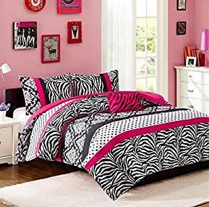 Comforter Bed Set Teen Kids Girls Pink Black White Animal Print Polka Dots Bedding Set (Twin/twin Xl)