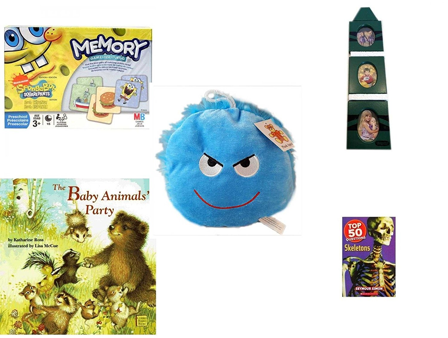 """Children's Gift Bundle - Ages 3-5 [5 Piece] - SpongeBob SquarePants Memory Game - Crayola Green Crayon 3-Tier Picture Frame - Plush Appeal Bright Blue Mischievous Face Plush 7"""" - The Baby Animals'"""