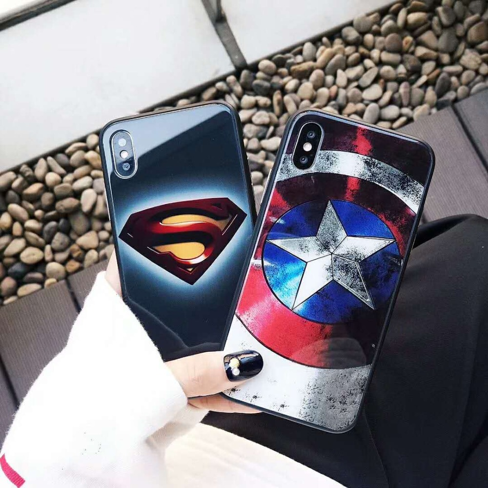 Hot selling custom design 9h tempered glass batman phone case