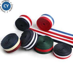 Superior Quality Polyester Red White Blue 10MM to50MM Striped Grosgrain Ribbon for Clothing