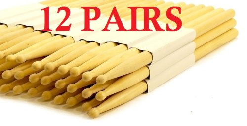 12 PAIRS - 5A WOOD TIP NATURAL MAPLE DRUMSTICKS PRO 24 DRUM STICKS NEW
