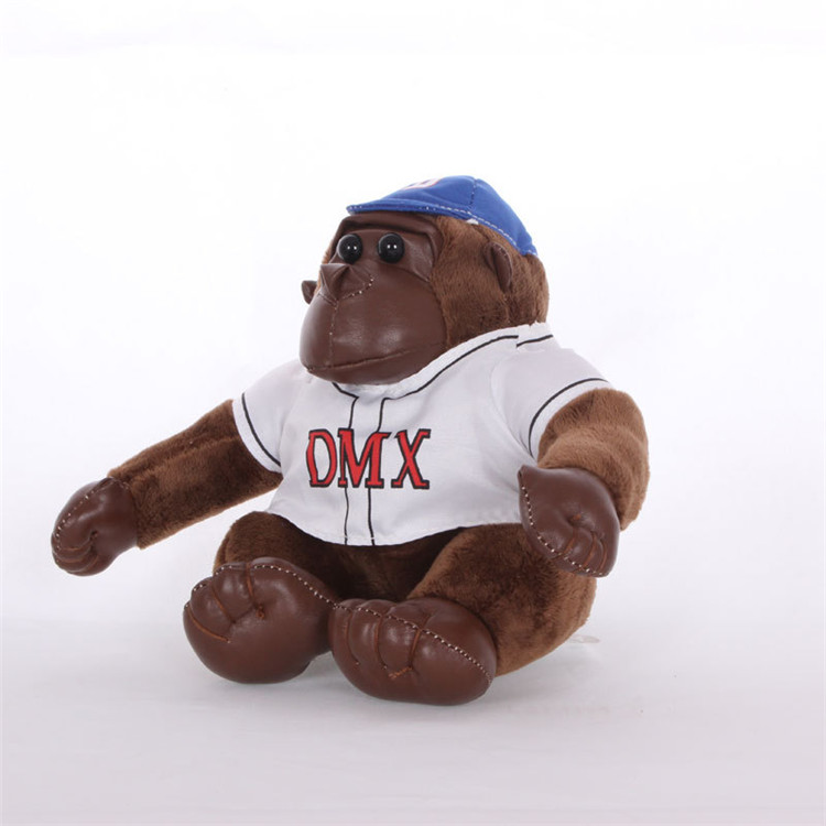 custom  sttuffed Black soft orangutan keychain DOLL with shirt