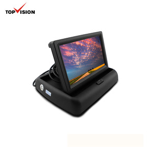 4.3 Inch Folding TFT LCD Car Rear View Reverse Color Camera Monitor 2CH Video Input Supports Car DVD/VCD Black