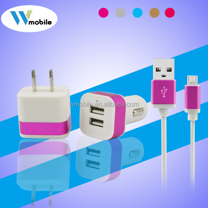 Universal Mobile Phone Travel Charger Kits 3 in 1 USB Charger, USB Cable for Mobile phone