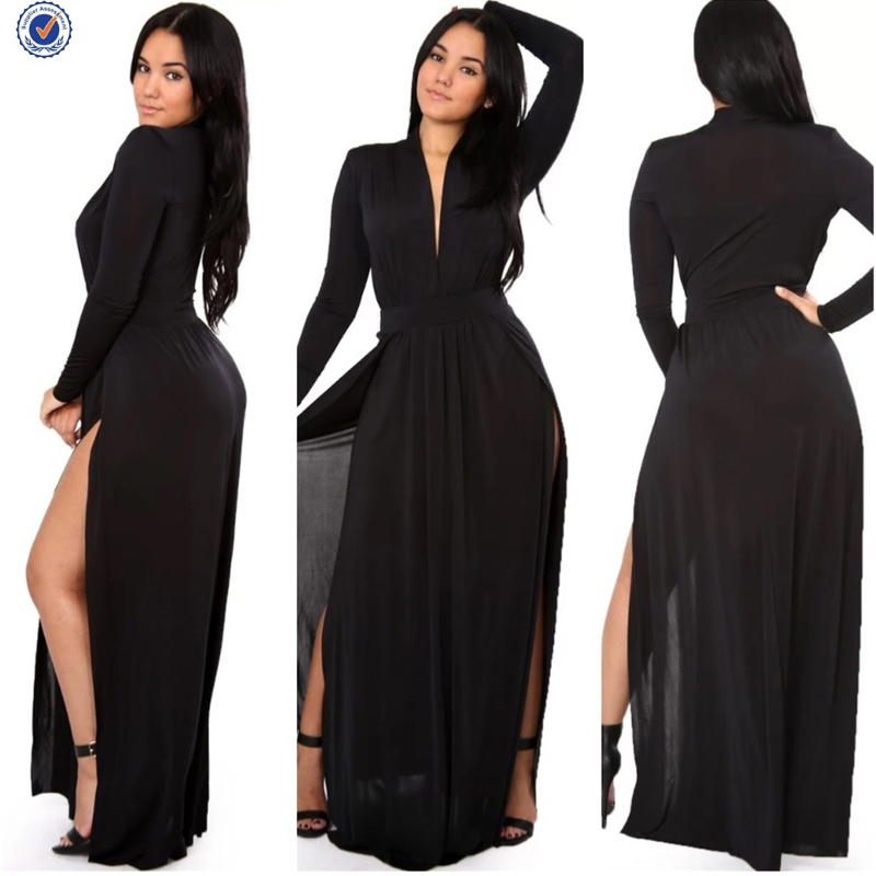 0ef2576ed1 Turmec » long sleeve v neck maxi dress with split