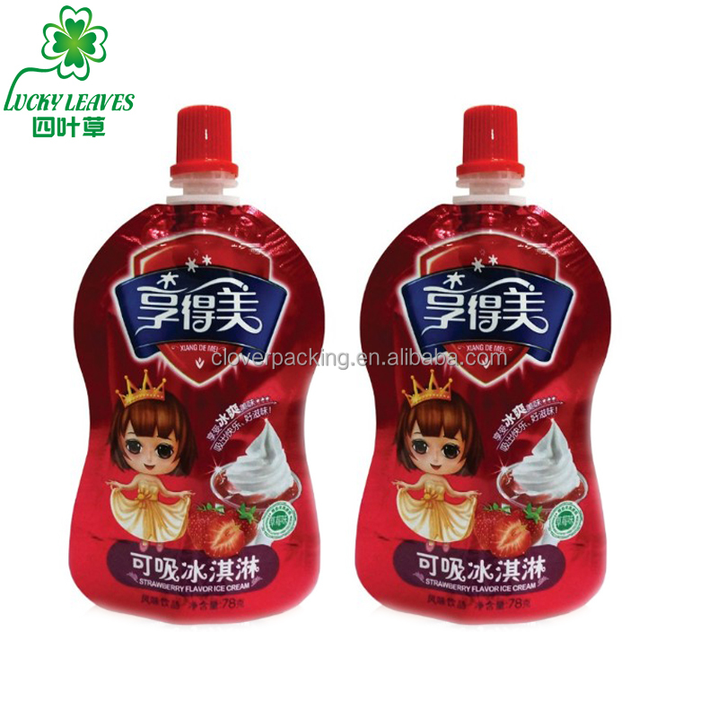 accept order beverage laminated package reclosable stand up spout pouch ice cream drink packaging bag with screw cap