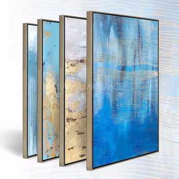 Blue Color Beautiful Abstract Paintings Wall Art Modern Canvas