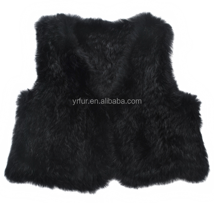 YR829 Warm soft children's knitted rabbit fur girl's vest