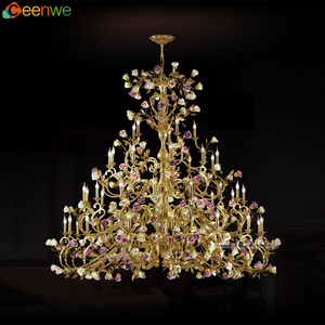 Luxury unique chandeliers 45 Lights wedding centerpiece Large Antique Brass chandeliers multicolor flowers ornament Finish