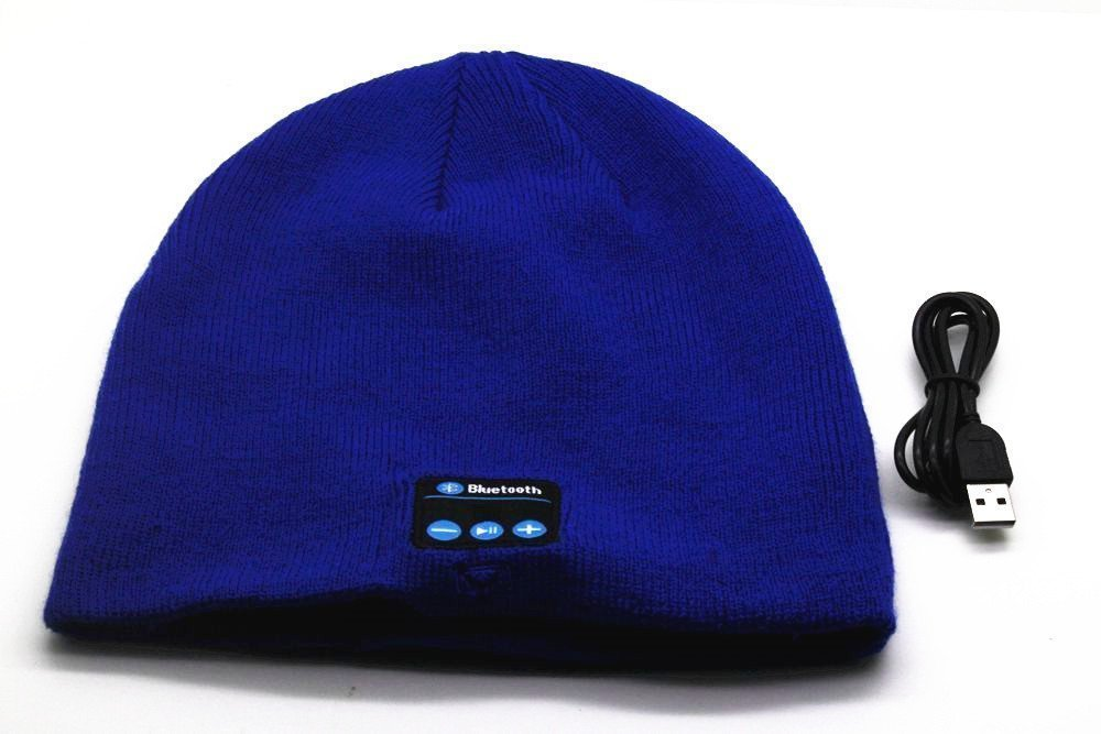 BearsFire® Fashion Wireless Bluetooth Knit Hat Receiver Headphone Speaker Microphone Beanie Hat Cap Headphone Headset Earphones MP3 Speaker Music Player for Men Women Gift (Blue)