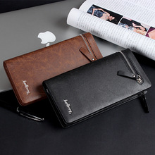 Factory wholesale Baellerry European Business retro men's long zipper clutch bag wallet purse handbags