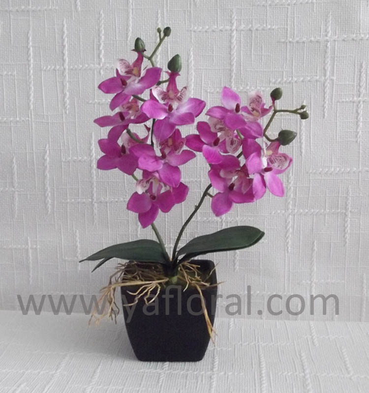 "2017 Cheap silk orchid plants 12"" mini phalaenopsis with 3 leaves"