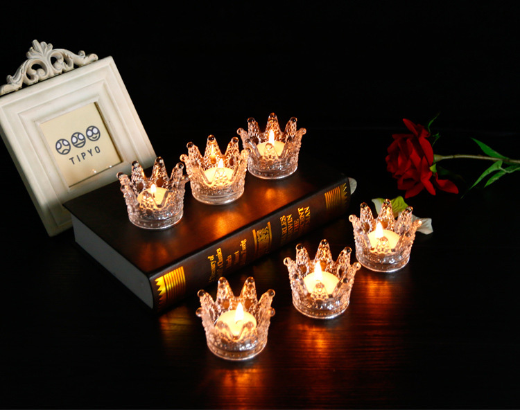 Glass antique grey crown shape decorative tealight candle holder /Votive Candle Holder / tealight candle holder flower shaped