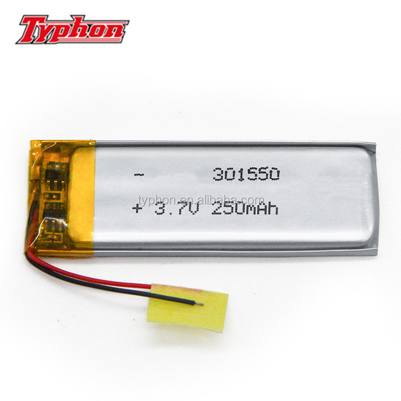 small lipo battery 3mm 301550 3.7v 250mah 031550 li-polymer rechargeable battery pack for bluetooth speaker