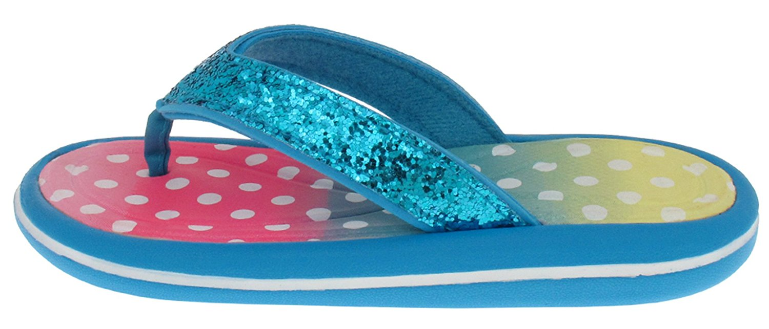 36aae90cf3ba Capelli New York Girls Crunchy Glitter Faux Leather Fashion Flip Flops With  Ombre Polkadot Print