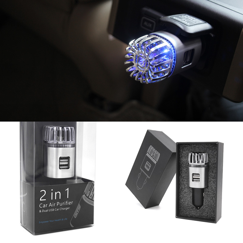 2 In 1 Car Air Purifier With Dual USB Charger Online Best Sellers