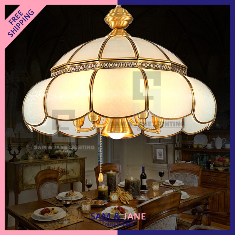 New Art Deco Ceiling Fixture Brass French Pendant Light