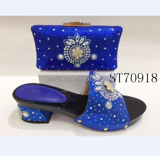 set heel mid heel matching party 5 low evening shoes bule rhinestone cm and shoes 6 bag ST70918 twq1E