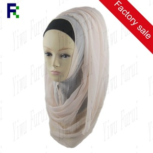 Yiwu wholesale georgette scarf plain pure color hijab muslim pashmina cheap shawl
