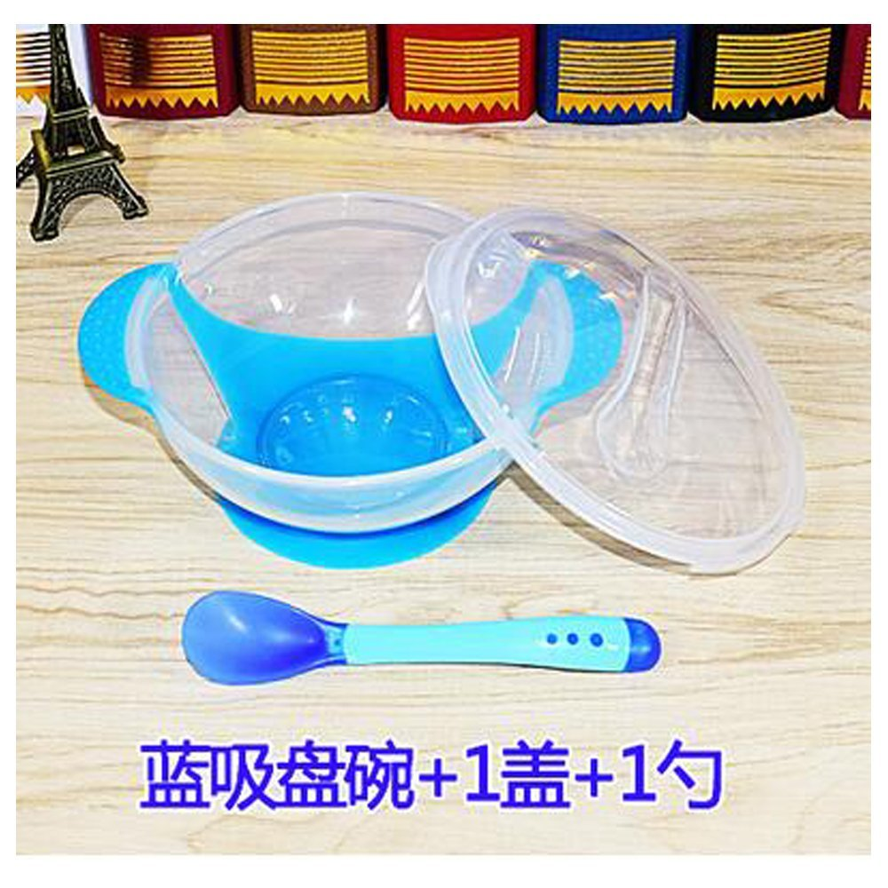 luck bear moder Male Baby tableware Suction - proof bowl Bowl + cover + spoon Baby children 's cutlery sets baby bowl bowl bowl soft spoon temperature spoon