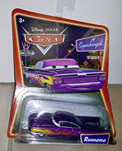 Disney Cars: Purple Ramone on Supercharged Background Card 1:55 Scale Diecast Mattel