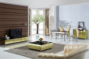 Elegant 304 Stainless Steel TV Cabinet And Coffee Table