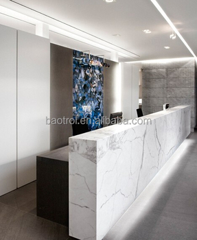 White Solid Surface Carrara Marble Reception Desk For