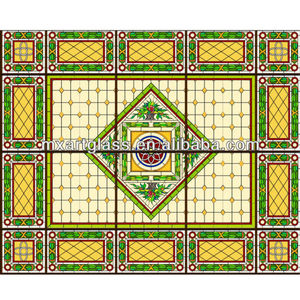 2013 custom tiffany style stained glass ceiling panel for plaza or church decoration