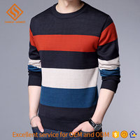 knit men 100% pure cotton crewneck striped red black white europe american style rib neck cuff pullover handsome man's sweaters