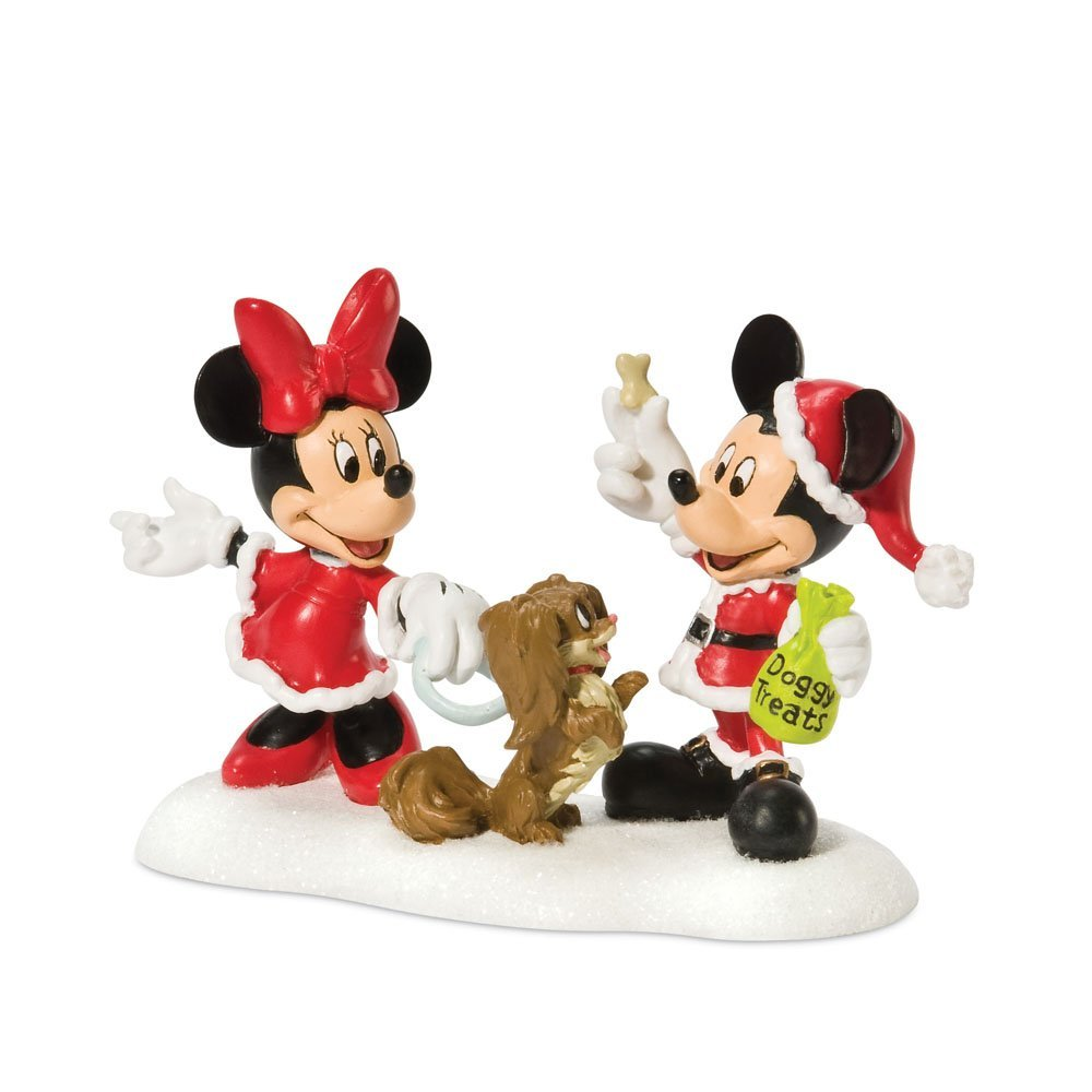 Department 56 Disney Village Accessory Figurine, Minnie and Mickey with Doggie Snack