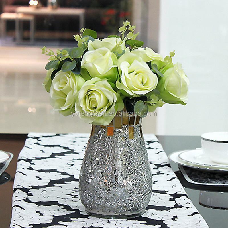 Mosaico de vidrio de altura jarr n de flores secas flores decoraci n del hogar jarrones de - Flores secas decoracion ...