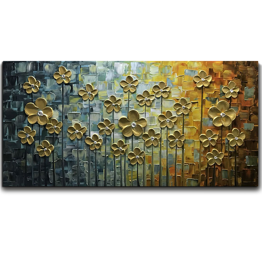 V-inspire Art, 24X48 Inch Gold Daisy Oil Paintings on Canvas Budding Flowers Art 100% Hand-Painted Abstract Artwork Floral Wall Art For livingroom Bedroom Dinning Room Decorative Pictures Home Decor