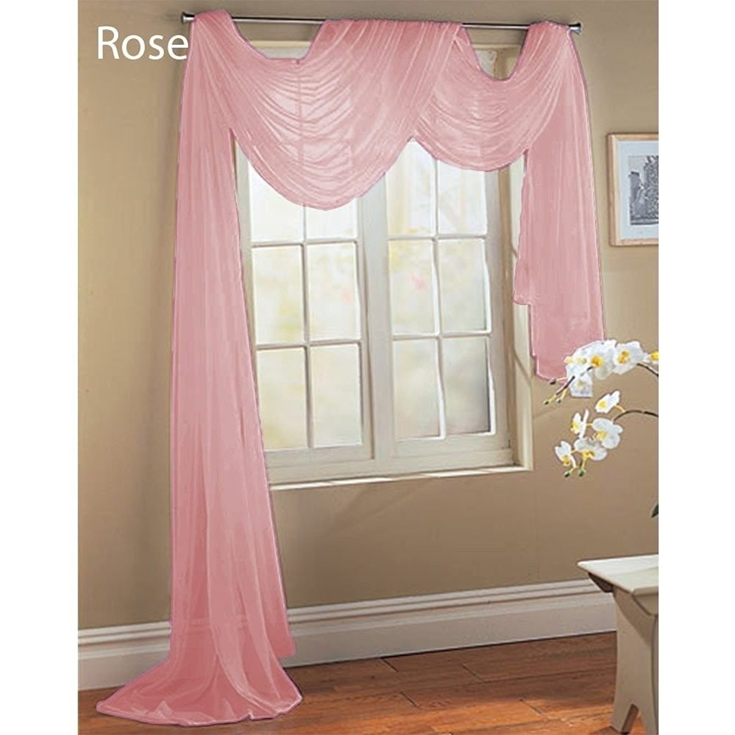 Buy Rose Baby Pink Scarf Sheer Voile Window Treatment Curtain Drapes