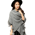2017 women winter shawls with mink fur ball and tassels wool knit long pashmina scarf
