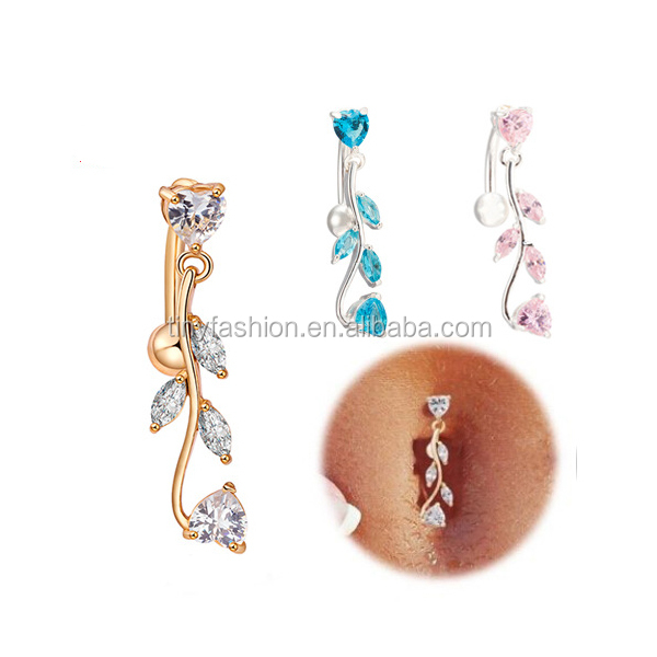 Zircon Medicinal Brass Gold Leaf Jewelry Navel Piercing Ring Body Jewelry Making Supplies