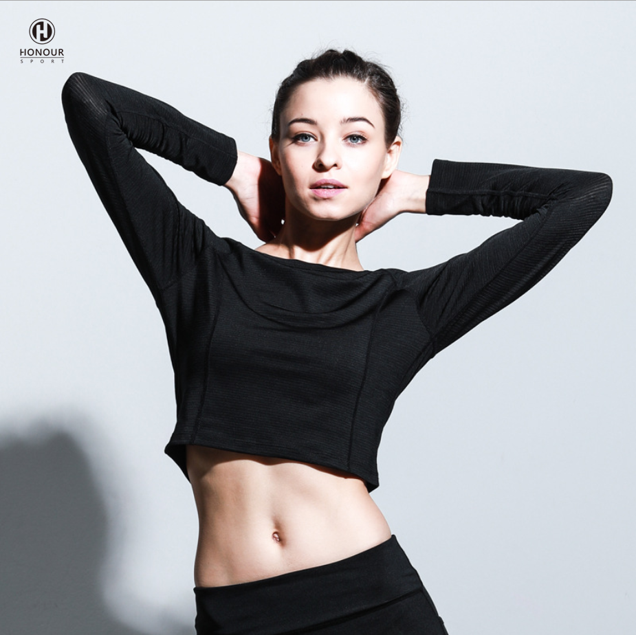 Good Quality Hot Design Women Custom Stretch Sports GYM Long Sleeve Girls Crop Tops shirts Tees Women Sport T-Shirt
