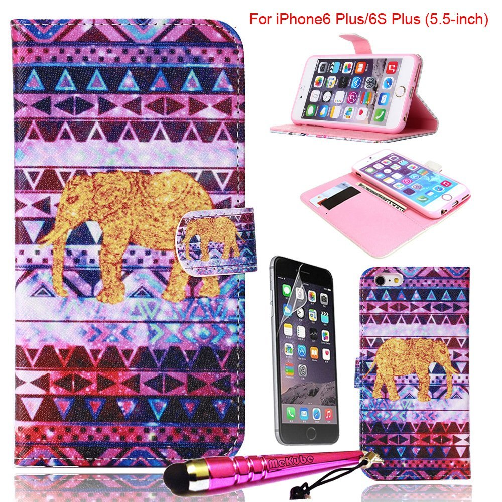 iPhone 6 Plus Case, iPhone 6S Plus Case [5.5-inch], MeKube Magnetic Flip Stand Card Holder Wallet PU Leather Case Pouch Cover W/ Film Protector For iPhone 6 Plus, 6S Plus (Colorful Tribe Elephant)
