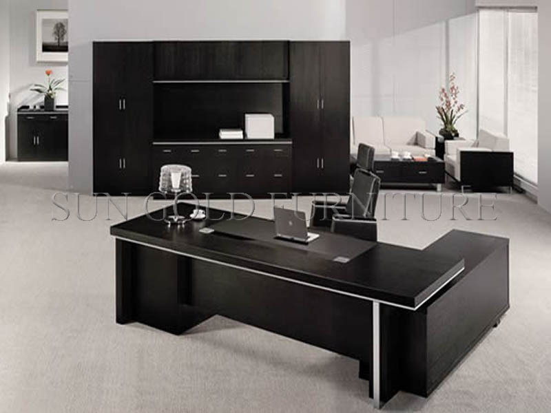 black l shaped office desk wholesale boss executive office. Black Bedroom Furniture Sets. Home Design Ideas