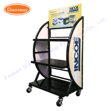 Retail shop 3 tiers metal car battery display rack for storage