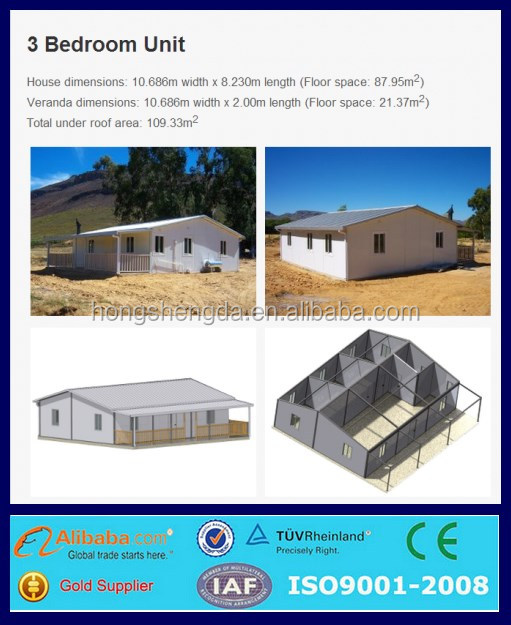 china cheap prefabricated steel three bedrooms simple villa house