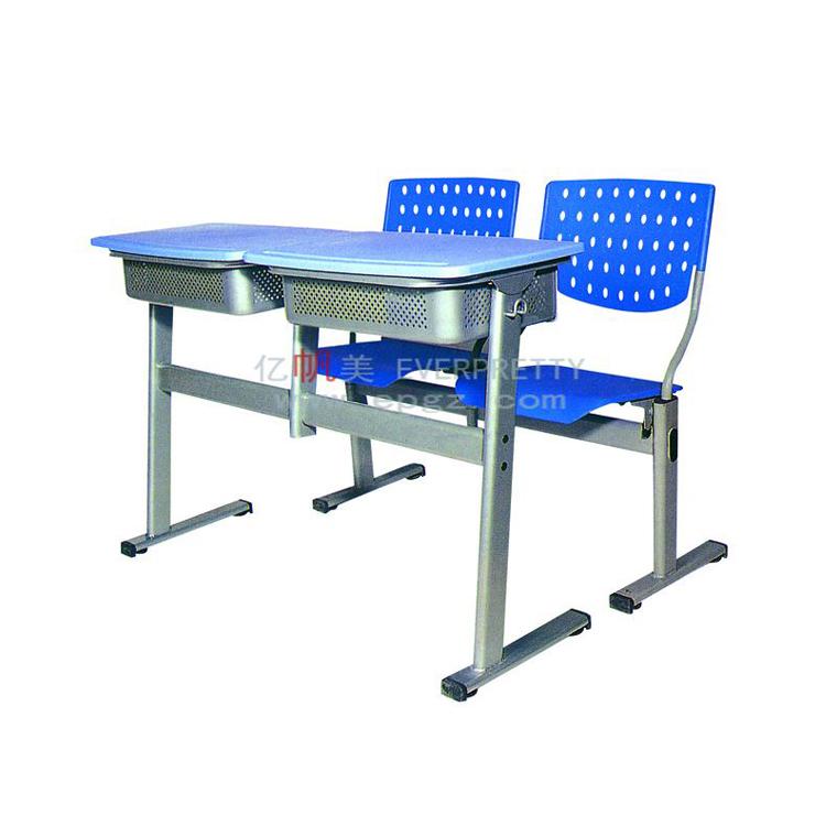 Оптовая продажа; Удобная классная высокого качества пластиковый фиксированный двойной письменный стол и стул набор