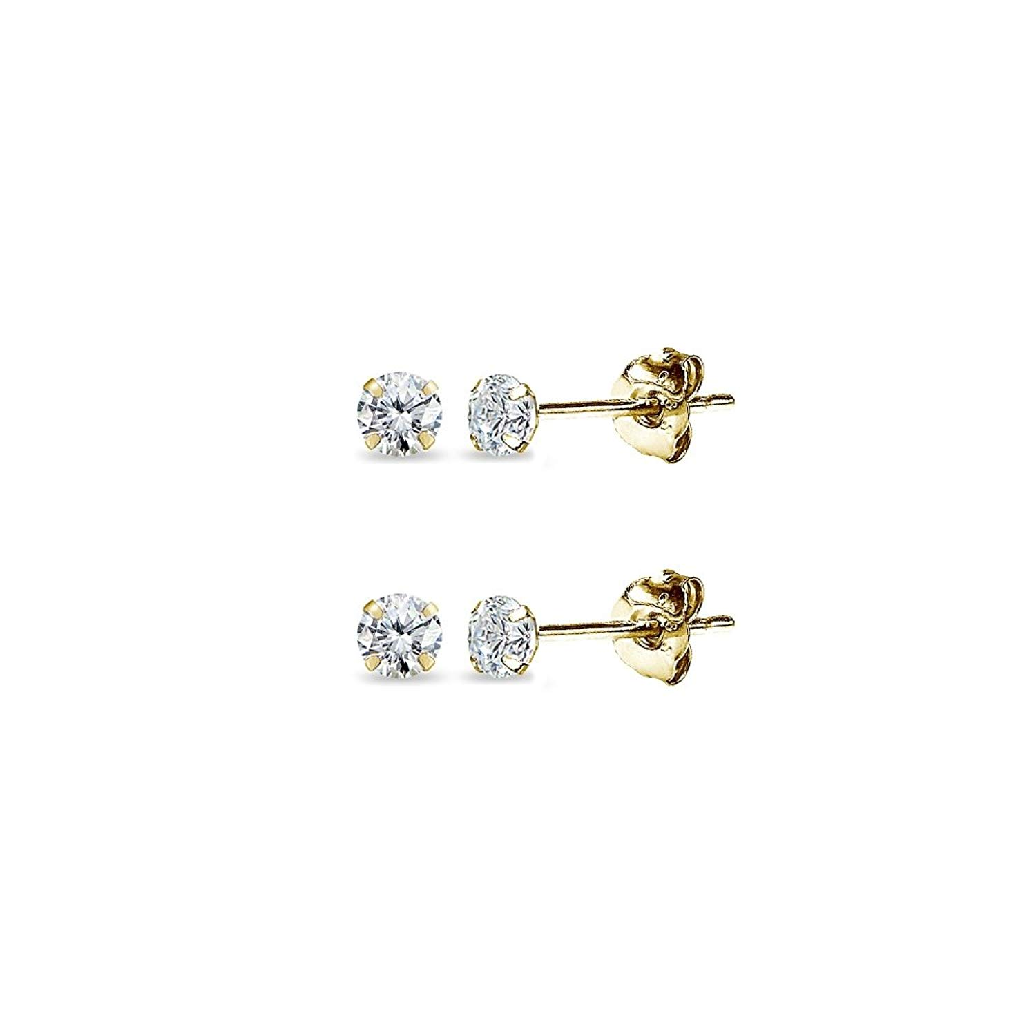 d0e63b001 Get Quotations · 2 Pair Set 14K Gold Cubic Zirconia Tiny 2mm Round Unisex Stud  Earrings for Men,