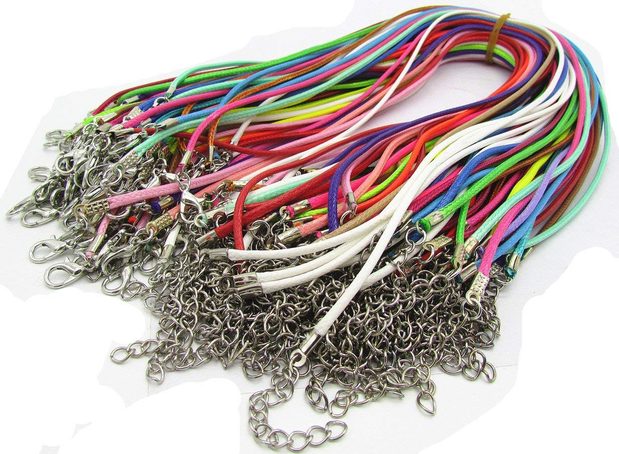 Assorted Color 50pcs Braided Imitation Leather Necklace Cord with Lobster Clasp 18''