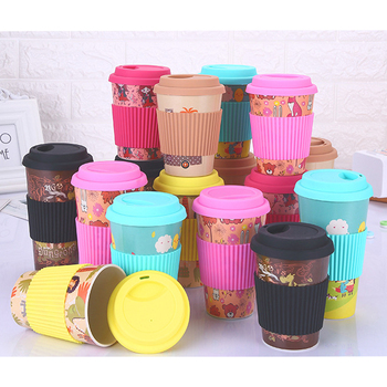 Customize Logo Bamboo Fiber Tumbler Takeaway Coffee To Go Mug Travel Mug Reusable Coffee Cup with Silicon Lid