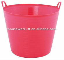 Colored plastic handle folding cheap wicker laundry basket