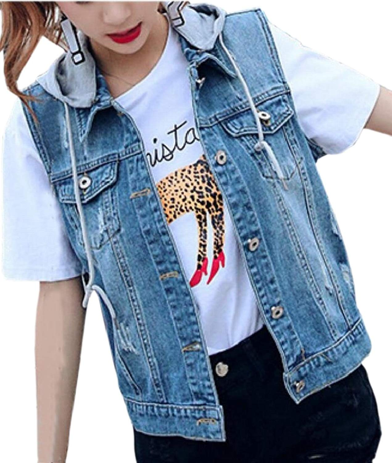 5c9e853a7d8f6 Get Quotations · Jaycargogo Womens Hooded Washed Denim Vest Sleeveless Jean  Jacket