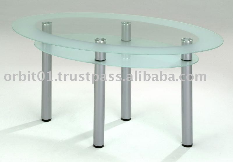 Moderne meubels metalen benen keuken tafel, ronde glazen eettafel ...